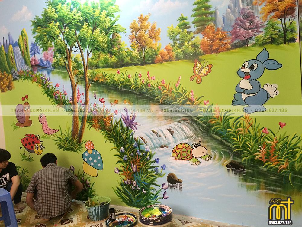 Vẽ Tranh Tường Mầm Non Sao Mai - Hồ Đắc Di - Đống Đa