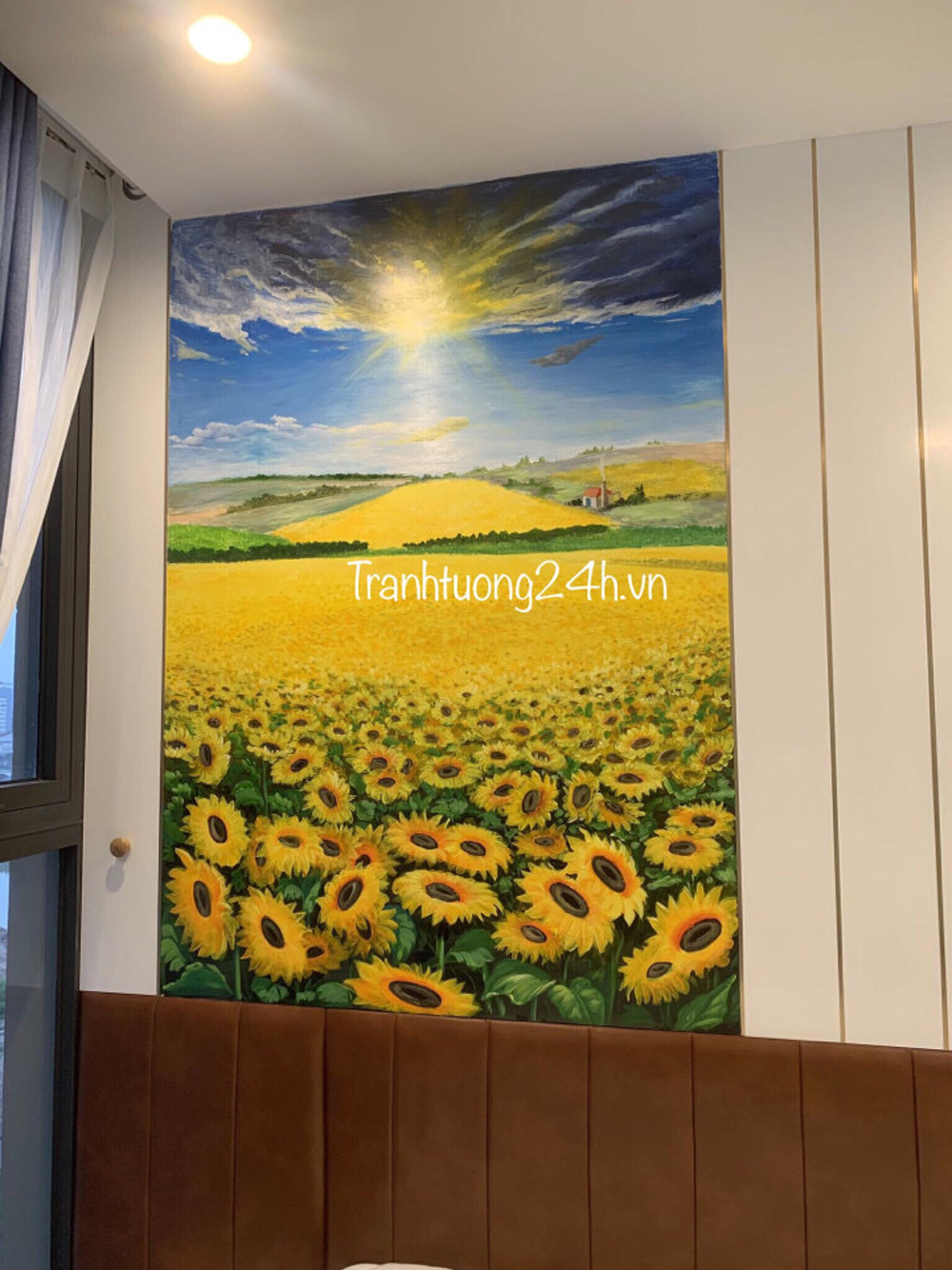 Tranh Tường Phòng Khách Hoa Mặt Trời