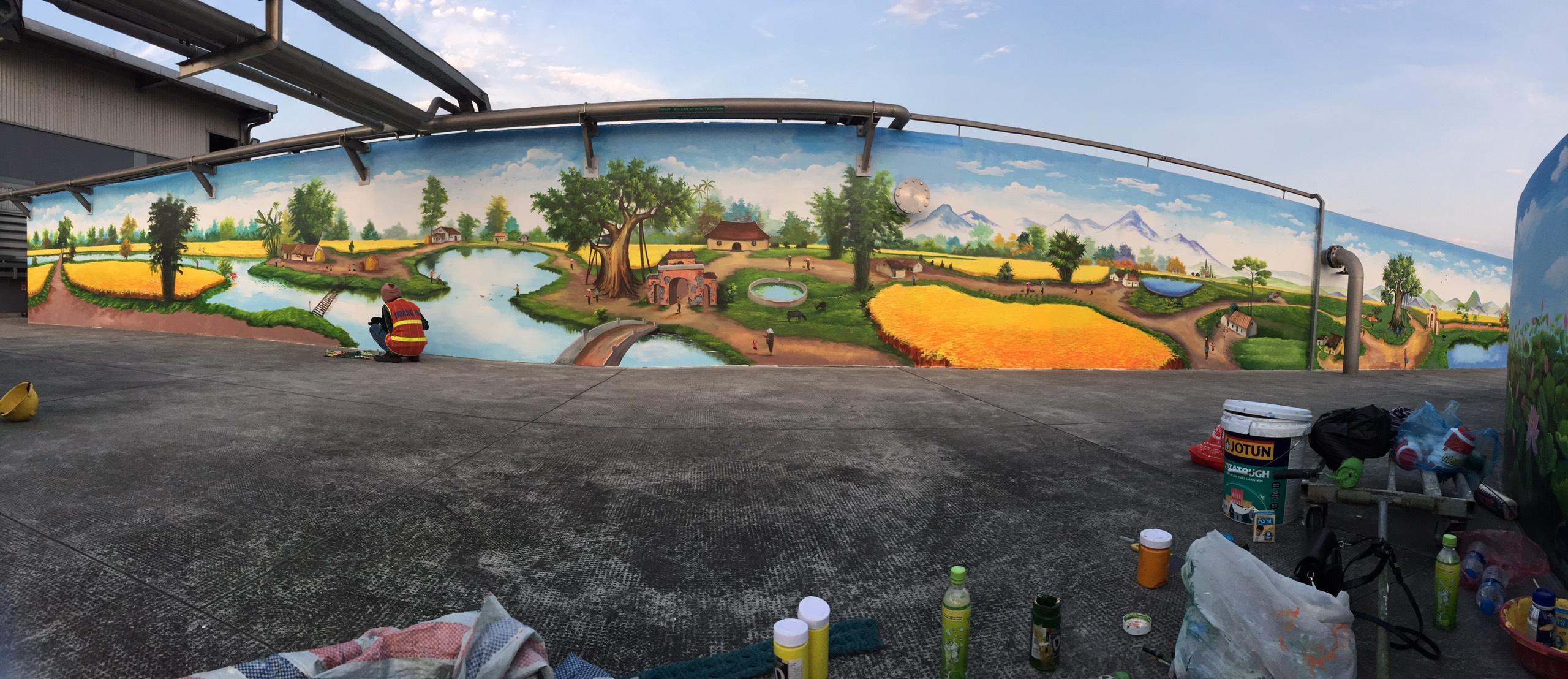 Công trình vẽ tranh ngoài trời cho cty Nestle Phùng Chí Kiên, Mỹ hào, Hưng Yên