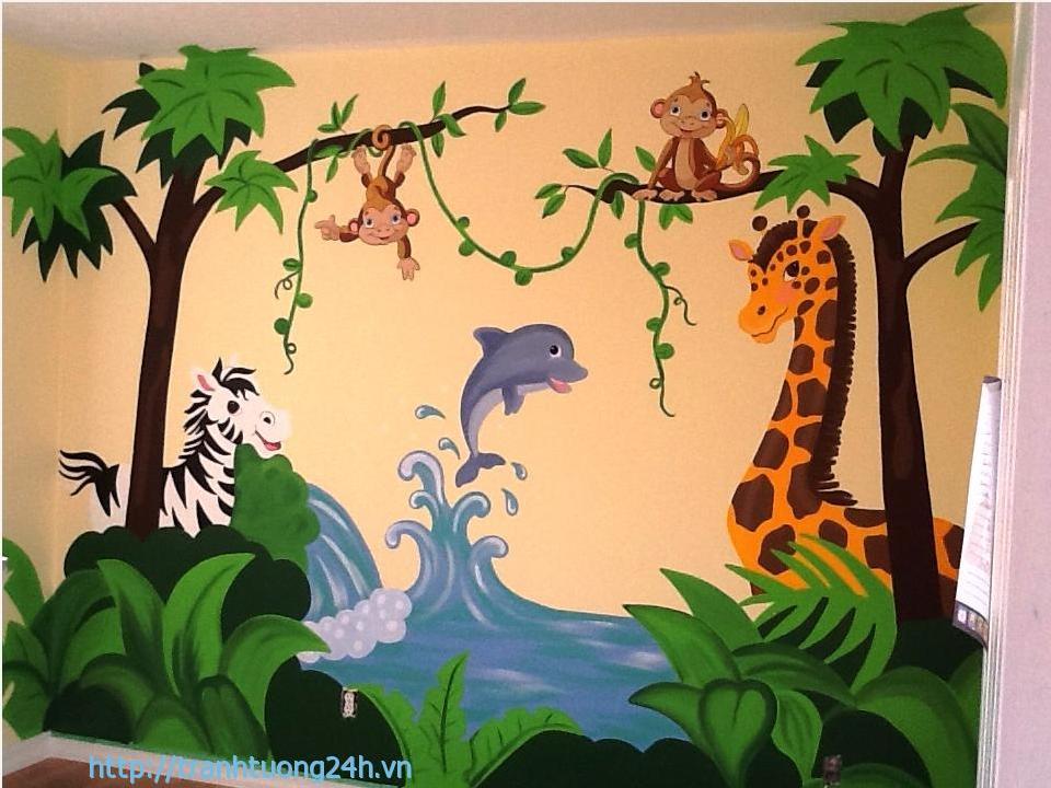Mẫu Tranh Tường Phòng Trẻ Em Con Vật Ngộ Nghĩnh