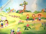 tranh tường mầm non, mẫu tranh trường mầm non, tranh trẻ em ngộ nghĩnh, tranh tường
