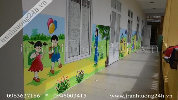 Vẽ tranh tường trường mầm non Văn Khê tại Mê Linh