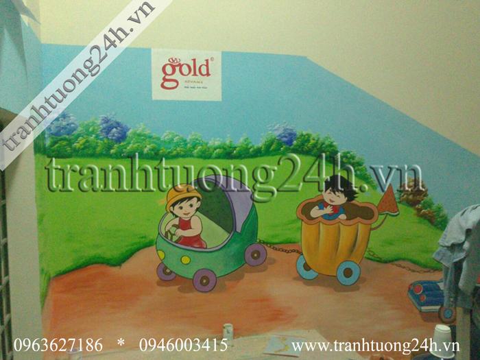 Vẽ tranh tường trường mầm non Vạn Phúc