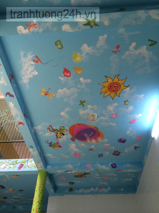 Vẽ tranh tường trường mầm non Sở Dầu, Bạch Đằng, Hải Phòng