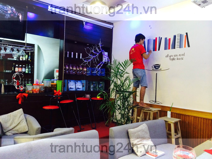 Vẽ tranh tường Quán coffee Sách - số 5, Ngõ 45, Hào Nam, Đống Đa, HN