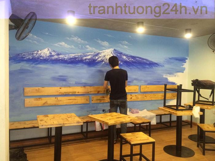 Vẽ tranh tường trang trí quán kem Fuji Show