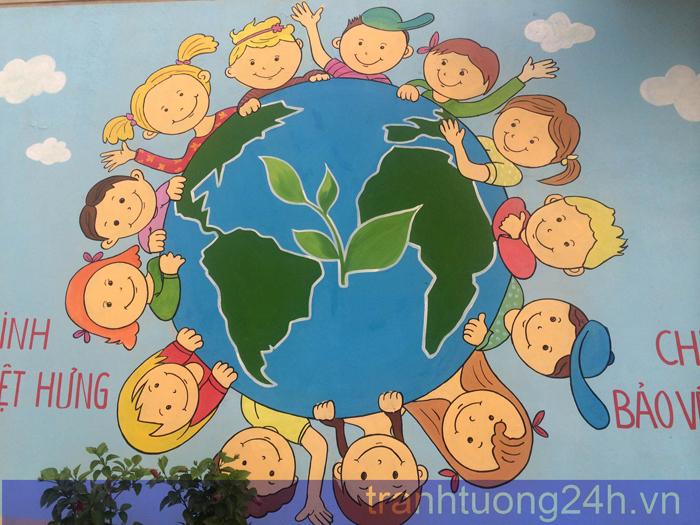 Vẽ tranh tường trường tiểu học Đô thị Việt Hưng