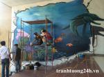 Vẽ tranh tường nàng tiên cá - dự án vẽ tranh tại hồ gươm plaza