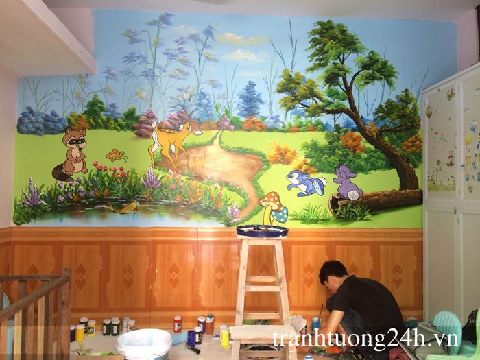 Vẽ tranh tường trường mầm non tư thục Minh Phương