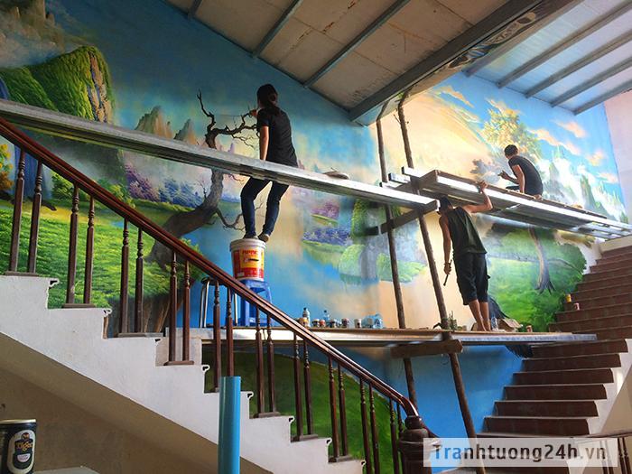 Vẽ Tranh Tường Nhà Hàng anh Cường số 672 Quang Trung, Hà Đông, Hn