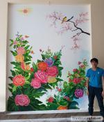 Vẽ tranh tường Văn phòng Kinh Đô Hưng Yên và Hà Nội. Vẽ tranh tường tại nhà riêng phòng khách, phòng trẻ em, phòng ngủ, lan can và tường rào...
