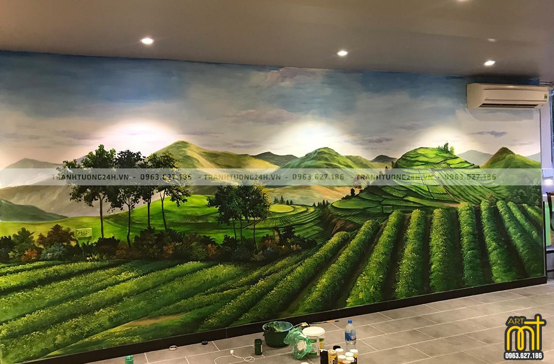 Vẽ tranh tường Cafe, trà sữa TP Tea và Món Huế
