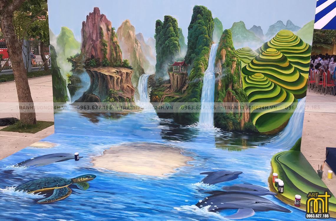 Tranh Tường đẹp sơn thủy, phong cảnh 3d