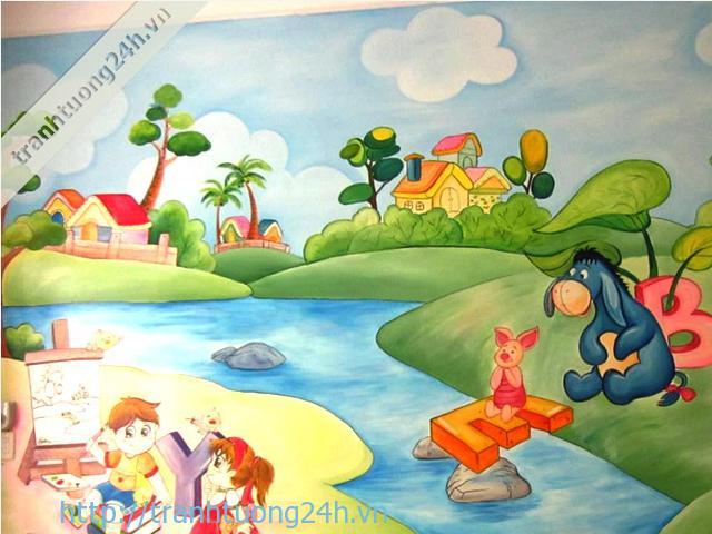 Vẽ tranh tường trường mầm non Vân Hà