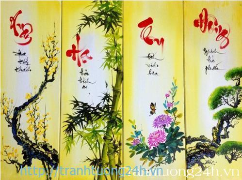 tranh sơn dầu tứ quý Tùng Cúc Trúc Mai