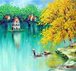 Tranh Hồ Gươm, bức tranh sơn dầu phong cảnh hồ Gươm đẹp