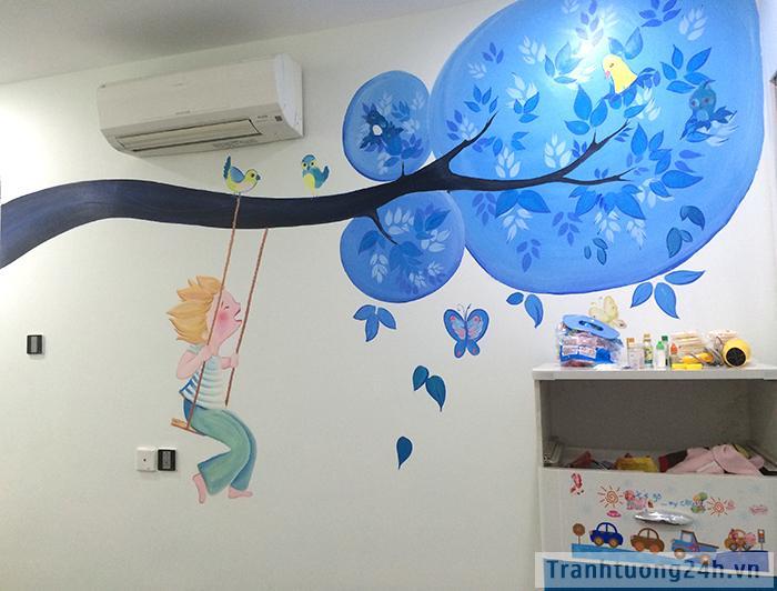 Vẽ tranh tường phòng ngủ Diamond Flower