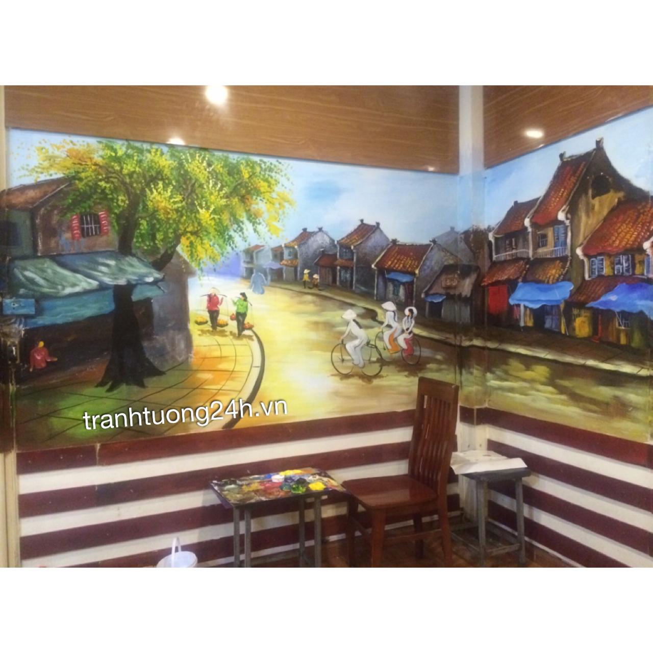 Vẽ tranh tường nhà hàng Ngỗng 9 món tại Số 1 Đặng Thái Ân